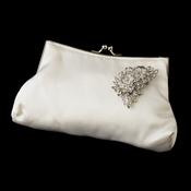 Silk Satin Evening Bag 202 with Antique Silver Clear Floral Brooch 205