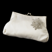 Silk Satin Evening Bag 202 with Snowflake Rhinestone Brooch 36