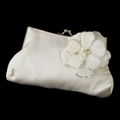 Silk Satin Evening Bag 202 with Ivory Beaded Flower Pearl Brooch 41