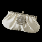 Rhinestone Accented Vintage Frame Satin Evening Bag 309 with Silver Clear Rhinestone Floral Starfish Brooch 156