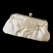 Satin Crystal Evening Bag 315 with Silver Clear Beach Starfish Brooch 3177