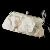 Satin Crystal Evening Bag 315 with Silk Sheer Organza Flower Feather Clip 8993