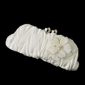 Satin Evening Bag with Ivory Beaded Flower Pearl Brooch 41
