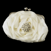 Silver Frame & Shoulder Strap Floral Rose Evening Bag 329 with Pearl & Rhinestone Brooch 30