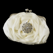 Silver Frame & Shoulder Strap Floral Rose Evening Bag 329 with Antique Silver Clear Crystal Floral Brooch 58