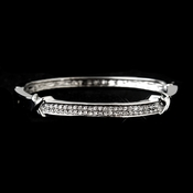 Antique Silver Clear CZ Crystal Bangle Bridal Bracelet 3016