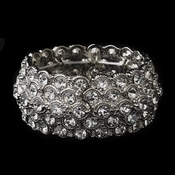 Antique Silver Cuff Bracelet Embellished in Cobblestone Circles of Rhinestones 3109