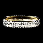 Gold with White Enamel Bangle Fashion Bracelet 6108