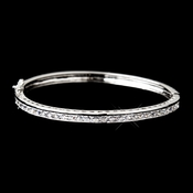 Antique Silver Clear CZ Crystal Bridal Bangle Bracelet 6502