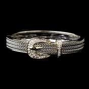 Gold Two Tone Buckle Clear CZ Crystal Fashion Bangle Bracelet 7024