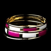 Golden White & Fuchsia Modern Myth Stackable Bangle Bracelet Set 8800