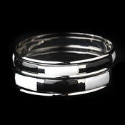 Silver Black & White Modern Myth Stackable Bangle Bracelet Set 8800