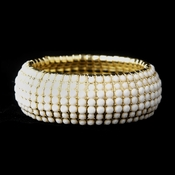 Gold White Stretch Bracelet 8802