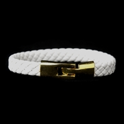 Gold White Leather Bracelet 8805