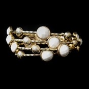 Gold White Cuff Fashion Bracelet 8807