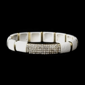Gold White Stretch Bracelet 8811