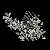 Antique Rhodium Silver Clear Rhinestone Floral Comb 4400
