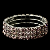 Triple Row Light Amethyst Covered Stretch Bracelet in Silver 4153
