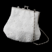 Ivory Floral Lace Organza Bridal Purse with Pearl Accents in Silver 1929