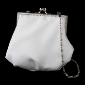 Simplistic Ivory Tone Bridal Purse with Sparkling Swarovski Crystal Trim 1986