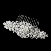 Antique Silver Rhodium Clear Rhinestone & Ivory Pearl Floral Comb 654