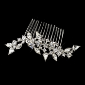 Antique Silver Rhodium Clear Rhinestone Comb 655