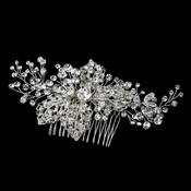 Silver Clear Rhinestone Comb 9878 with Leaves***Discontinued***