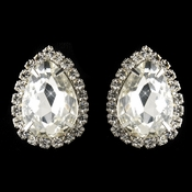 Silver Clear Rhinestone Clip On Stud Earrings 20145***Discontinued***