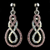 Silver Pink & AB Rhinestone Twist Drop Earrings 40667