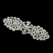 Antique Silver Clear Rhinestone Hair Flower Barrette 6500