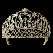 * Rhinestone Covered Royal Quinceanera or Sweet 16 Tiara Headpiece 208