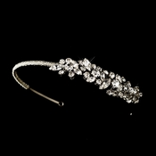 Antique Silver Clear Rhinestone Headpiece Headband 607