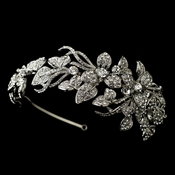 Antique Silver Clear Rhinestone Side Accented Flower Vine Headband Headpiece 9875
