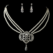 Silver Ivory Pearl & Rhinestone Necklace & Earrings Jewelry Set 1854