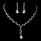 Silver Clear Rhinestone Drop Necklace & Earrings Jewelry Set 4735