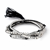 "Silver Black Tassel Fashion ""Memories for Eternity"" Bracelet 8818"