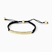 B 8819 Gold Black String Bracelet