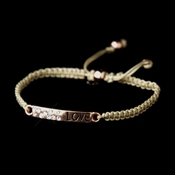 "Rose Gold ""Love"" Corded Rope Fashion Bracelet 8823"