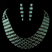 Gold Turquoise Faceted Bead Multi Strand Tribal Fashion Necklace & Earrings Jewelry Set 8161