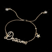 "Gold Clear Fashion Script ""Dream"" Bracelet 8825"