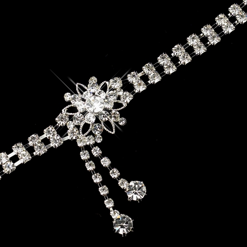 Kim Kardashian Inspired Rhinestone Flower Dangle Bracelet in Silver 1539