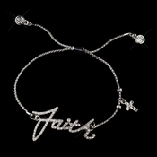 "Silver Clear Script ""Faith"" Bracelet 8827 *** Discontinued***"
