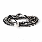 Silver Black Wrap Fashion Bracelet 8831