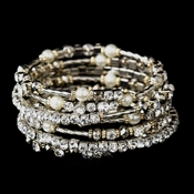 Gold and Silver Clear Crystal with Ivory Pearl Coil Bracelet 8834 **Discontinued**