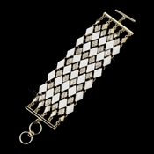 Gold Clear Rhinestone White Diamond Pattern Fashion Bracelet 8841