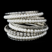 Silver White Pearl & Clear Crystal Bangle Bracelet 8854 **Discontinued**