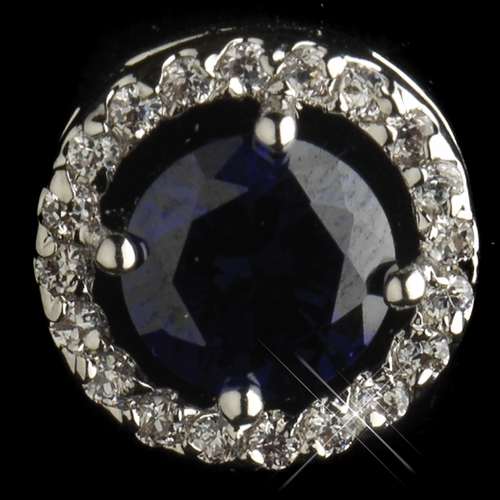 Antique Silver Rhodium Sapphire CZ Crystal Round Stud Earrings 2288
