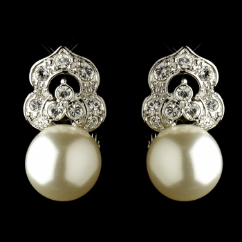 Antique Rhodium Silver Clear CZ & Diamond White Pearl Earrings 7860 - 2 left