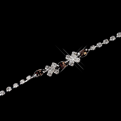 Silver Light Brown & Clear Marquise Rhinestone Bracelet 3995
