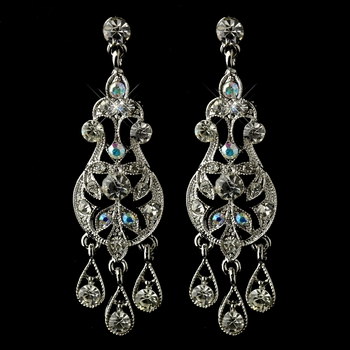 Antique Rhodium Silver AB & Clear Rhinestone Chandelier Earrings 6386